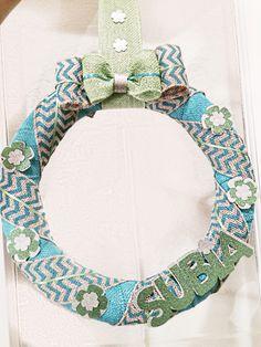 Burlap wreath, lime and teal, cricut last name