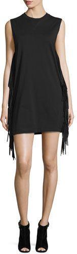 McQ Alexander McQueen Sleeveless Fringe Shift Dress, Black