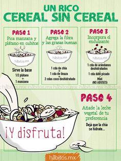 =Cereal sin cereal= 1 manzana 1/2 platano 1 cda chia 1 cda linaza 2 cda coco…