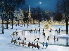 "Sally Caldwell Fisher Open Edition Fine Art Canvas Giclée:""Skating at Frog Pond"" Pond Painting, Winter Painting, Winter Magic, Winter Art, Winter Night, Winter Illustration, Christmas Illustration, Christmas Poster, Christmas Art"