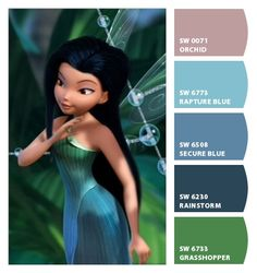 Paint colors from Chip It! by Sherwin-Williams. Inspired by Disney Fairies Silvermist.
