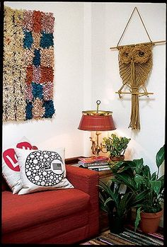 Macrame Owl & Latch Hook Rug for a 70's inspired home