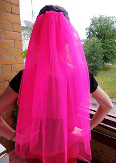 Bachelorette party 3-tier Veil hot pink , long length. Bride veil, accessory, bachelorette veil. $15.00, via Etsy.