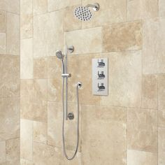 """Isola Thermostatic Shower System - 12"""" Wall Shower - Hand Shower - Chrome"""