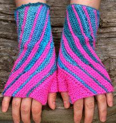 Bright-pink knit wrist warmers. Fingerless wool by echocraftings