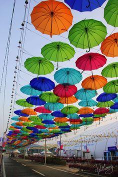 Umbrella's stuck in the sky by Pui Wong on Umbrella Street, Umbrella Art, Concert Stage Design, Umbrella Decorations, Street Art, Garden Deco, High Quality Wallpapers, Art Festival, Urban Art