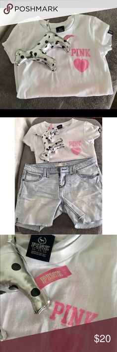 Cute PINK VS TOP White PINK Victoria's Secret short sleeve T. Size extra small. Pink writing on front and back. Good condition. PINK Victoria's Secret Tops Tees - Short Sleeve
