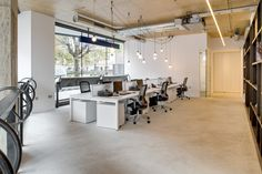 hanging light detail, Hurford Salvi Carr, office fit-out Shoreditch by gpad…