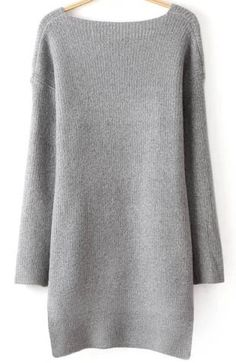 Grey V Neck Long Sleeve High-Low Knit Sweater - abaday.com