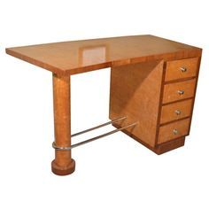 Art Deco Desk Maple and Chrome | From a unique collection of antique and modern desks at https://www.1stdibs.com/furniture/storage-case-pieces/desks/