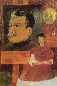 """""""Autoritratto con Stalin"""" 1954 Dimension: 59 x 39 cm Museo Frida Kahlo, Città del Messico"""