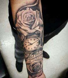 Obtain Free … tattoo arm males tatoos arm mens arm tattoo tattoo clock rose ar… - Tattoo Catalog Rosen Tattoo Mann, Rosen Tattoo Frau, Tattoo Arm Mann, Rosen Tattoos, Arm Tattoos Clock, Cool Arm Tattoos, Forearm Tattoo Men, Trendy Tattoos, Tattoo Clock