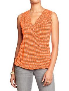 Women's Printed Wrap-Front Jersey Tops | Old Navy