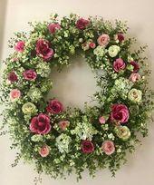 roses garden care hydrangea garden care Mini Roses and Hydrangeas Summer Door Wreaths, Easter Wreaths, Holiday Wreaths, Mini Roses, Funeral Flowers, Diy Wreath, Wreath Ideas, Grapevine Wreath, Dried Flowers