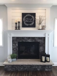 This collection of fireplace mantels is full of warm cozy decor inspiration and ideas for even the chilliest days. This collection of fireplace mantels is full of warm cozy decor inspiration and ideas for even the chilliest days. Fireplace Redo, Living Room With Fireplace, Fireplace Design, Fireplace Ideas, Shiplap Fireplace, White Fireplace Mantels, Over Fireplace Decor, Fireplace Decorations, Fireplace With Stone