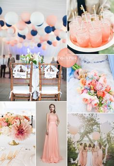 peach pink wedding color themed ideas 2015 and bridesmaid dresses trends