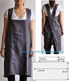 Work apron, another great idea from Moldes Moda por Medida. via moldes dicas moda Sewing Hacks, Sewing Tutorials, Sewing Projects, Sewing Tips, Sewing Ideas, Diy Projects, Sewing Aprons, Sewing Clothes, Dress Sewing