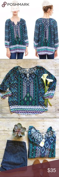 """NWT BLL Collection boho multi-color peasant tunic Loosely defined silhouette - a soft V-collar, breezy sleeves. On-the-go glamour, day and night. New with tags. 100% viscose, light and airy. 28""""L. 22"""" bust laying flat. Size medium. *All shorts and jeans pictured are also available in my closet, buy the look and save! BeachLunchLounge Tops Tunics"""