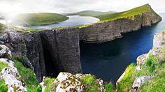 The Faroe Islands' Lake Sørvágsvatn, or Leitisvatn, tricks the eye, optical illusion (Credit: Credit: Jan Egil Kristiansen)