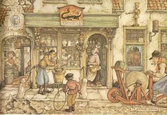 Anton Pieck Dutch painter, a painter and graphic artist. At the age of 11 he won his first prize for a still life. To paint in oil, has worked. Illustration Arte, Anton Pieck, Dutch Painters, 3d Prints, Dutch Artists, Netherlands, Holland, Fairy Tales, Poster
