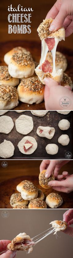 These Italian Cheese Bombs take only minutes to prepare using premade biscuit dough and the ooey gooey cheese and salami will be everyone's favorite. # Food and Drink dinner 21 day fix Easy Italian Cheese Bombs I Love Food, Good Food, Yummy Food, Tapas, Cheese Bombs, Snack Recipes, Cooking Recipes, Sandwich Recipes, Salami Sandwich