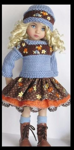 Handknit sweater and dress set made for Effner little darling dolls.
