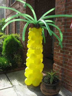 how to make a pineapple palm tree centerpiece - Google Search