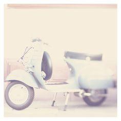 SALE retro scooter photo print - whimsical fine art color photography, nostalgic, travel, blue, wheels, city, escape, explore, wanderlust,