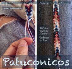 """Pulsera de hilo Patuconicos serie """"IsaZen"""" elegantes y todas diferentes con hilo. Thread Bracelets, Embroidery Bracelets, Macrame Bracelets, String Bracelets, Bracelet Fil, Bracelet Crafts, Bracelet Making, Diy Friendship Bracelets Patterns, Summer Bracelets"""
