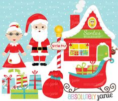 Santa's Workshop Christmas Clipart Set  North, Sleigh, Mrs. Claus