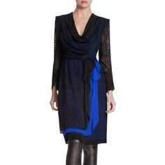 Bcbg Maxazria Blue Runway Long Sleeve Tired Silk Skirt Dress ($150) ❤ liked on Polyvore featuring dresses, blue, applique dress, bcbgmaxazria dress, tiered dress, zip dress and long sleeve cowl neck dress
