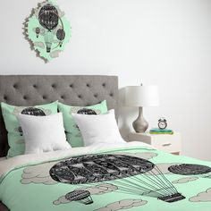 Contemporary Bedroom Design with Mint Green Hot Air Balloon Hipster Bedding, Mint Green Hot Air Balloon Wall Decor, and Silver Table Lamp, 7  designs in Hipster Bedding gallery