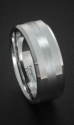 Classic Men's Wedding Band Tungsten Ring Polished with Brushed Inlay Beveled Edge Comfort Fit
