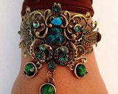 Boho chic bracelet romantique-fabriqué à la main antique turquoise métal plaqué brillant rainstone et enveloppe de cuir perles brun-vert.