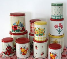 So here are some more kitchen collectibles I find hard to resist. My first set of these vintage tin kitchen canisters came from my Grandmot...