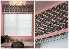 Chocolate brown valence with pink accents - Drapery Street