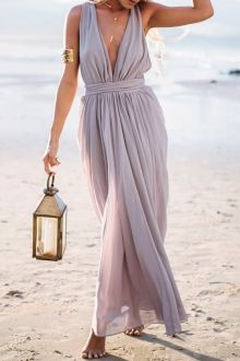 Plunging Neck Solid Color Maxi Dress - I like this. Do you think I should buy it?