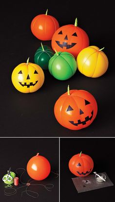 DIY Balloon Jack-O-Lantern craft - such a fun activity and perfect decorations for a kids' Halloween party! Spooky Halloween, Halloween Balloons, Holidays Halloween, Halloween Pumpkins, Halloween Crafts, Holiday Crafts, Holiday Fun, Halloween Party, Halloween Clothes