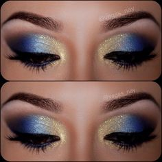 12 Gorgeous Blue and Gold Eye Makeup Looks and Tutorials Beautiful blue and gold smokey eye makeup - Das schönste Make-up Gold Eyeliner, Gold Eye Makeup, Gold Eyeshadow, Smokey Eye Makeup, Beauty Makeup, Blue Eyeshadow Looks, Smoky Eye, Navy Blue Eyeshadow, Mermaid Eye Makeup
