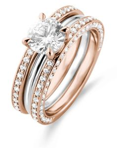 Two toned triple band engagement ring | Laurence Bruyninkcx Vesta 4 | http://trib.al/GHRkC20