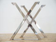 "28"" X-Frame Table Legs , STAINLESS STEEL, OPTIONAL HEIGHT RANGE 26"" TO 31"" SET(2) / balasagun"