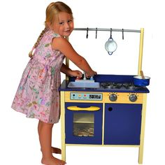 Blue Wooden Play Kitchen blue wooden toy kitchen for boys and girls | children's wooden toy