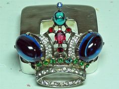 Trifari Sterling Silver Jelly Belly Jeweled Crown Brooch Pin 1944 Largest Size