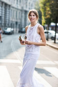 A floor-length white lace with simple accessories is the best summer outfit. #streetstyle