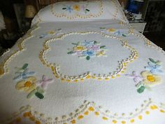 VINTAGE ALL Cotton Chenille Bedspread w Plush Cake Topper Pastel Pattern + Fring