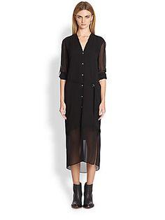 Helmut Lang Ghost Semi-Sheer Silk Shirtdress