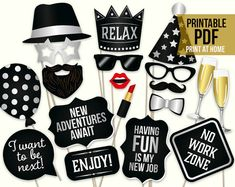 Retirement photo booth props: printable PDF. by HatAcrobat on Etsy