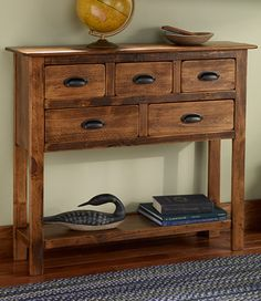 """Rustic Wooden Hall Console: End Tables at L.L.Bean ...... $429 +30 ship, 36""""H x 42""""W x 10¼""""D"""