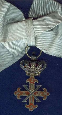 Italy, Two Sicilies Constantine Order of St George Dame of Grace's Breast Cross in Silver gilt and enamel, 31 mm (excluding crown suspension) with lady's bow for wearing.