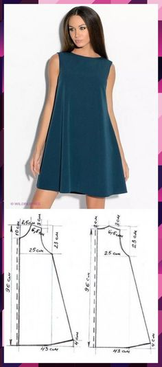 Schnittmuster A-Linie Kleid, .- Schnittmuster A-Linie Kleid, .- Schnittmuster A- Sewing Dress, Diy Dress, Sewing Clothes, Diy Clothes, Barbie Clothes, Fashion Sewing, Diy Fashion, Ideias Fashion, Fashion Dresses